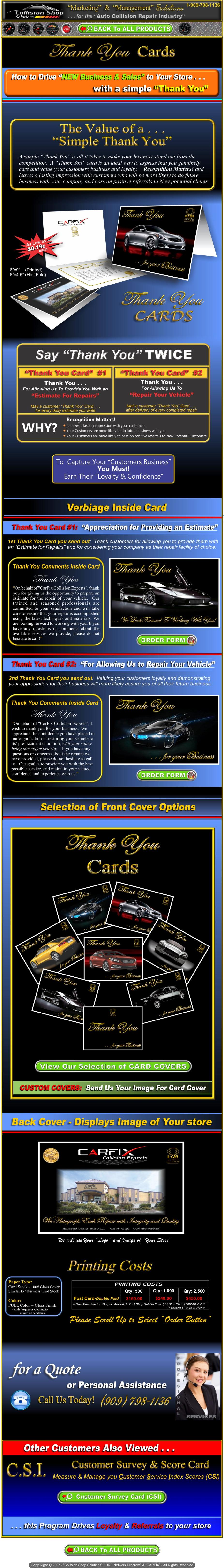 Customer Thank You Cards Designed For Auto Body